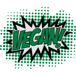 Vegan, Comic Book Style, Green, Explosion, 3c