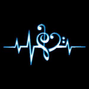 Musik Noten Herz, Puls, Frequenz, Notenschlüssel,