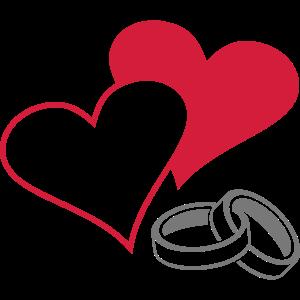 Herzen und Ringe