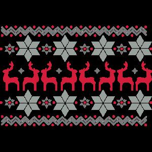 Weihnachtsstern Muster und Rentier Muster