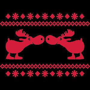 Elch Rentier Hirsch Weihnachten Norweger Muster