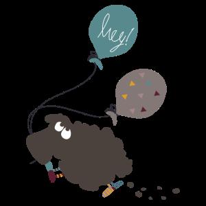 Schaf Elsbeth mit Luftballon