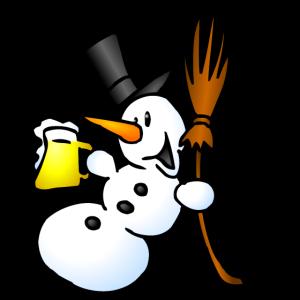 Schneemann mit einem Drink