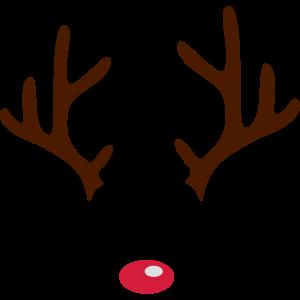 Lustiges Rentier Geweih mit roter Nase