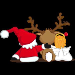 Santa Claus, Rentier und Engel