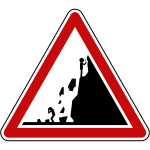 Warning falling rocks sign