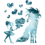 Kleine Mädchen mit Pferd und Schmetterlinge