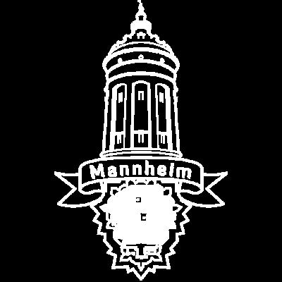 Mannheim City weiß by Punktzebra brands - Der Mannheimer Wasserturm und die Quadrate deiner Stadt. Das kultige T-Shirt aus Mannheim für Mannheim. - stadt,quadrate,mannheim,Xavier,Wasserturm,Söhne,Städte,Quadrat,Naidoo,Mannheims