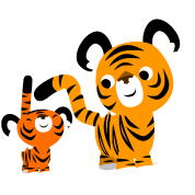 Cute Cartoon Small and Big Tigers by Cheerful Madness!!
