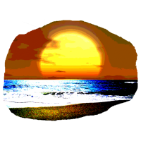 Abendstrand mit Sonne