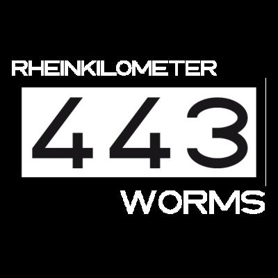 RK-443-Worms-weiss - Schrift Rheinkilometer und Worms in weiß. - Worms,Rheinkilometer,Rhein