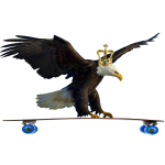 Eagle on Longboard with Crown