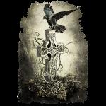 Rabe auf keltischen Kreuz
