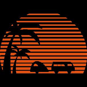 Camper Sonne Bus Palmen Surfen Strand Beach Urlaub