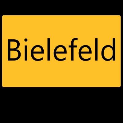 Bielefeld gibts wirklich - Entgegen anderslautenden Informationen: Bielefeld gibt's wirklich - Städte,Stadt,Ortsschild,Ort,Märchen,Mythos,Legende,Feststellung,Bielefeld,Behauptung