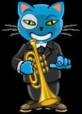 Motif Chat à la trompette
