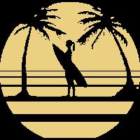 Surf Girl unter Palmen