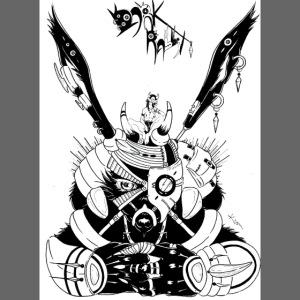 Fille manga lapin géant armure noire steampunk