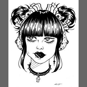 Tête femme manga rock japon casque musique