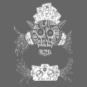Crâne musique DJ cornes Blanc