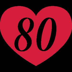 80. Geburtstag Herz