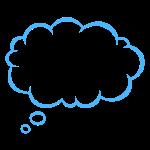 Denkblase blau/schwarz