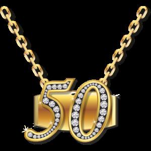 Geburtstag Kette 50 RAHMENLOS Geschenk