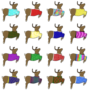 16 Rentiere mit Pullover