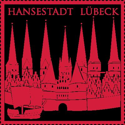 Hansestadt Luebeck - Silhouette der Hansestadt Lübeck als Briefmarke - Silhouette,Ostsee,Hansestadt Lübeck,Briefmarke,Baltic