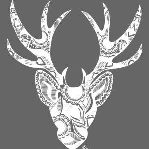 Cerf Mandala Blanc