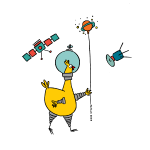 space chicken with ballon