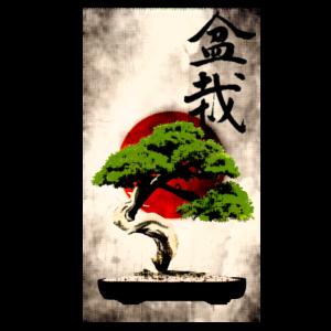 Bonsai vor japanischer Flagge Kunstdruck
