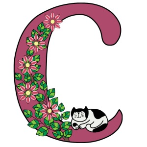 Letter C with cat and flowers