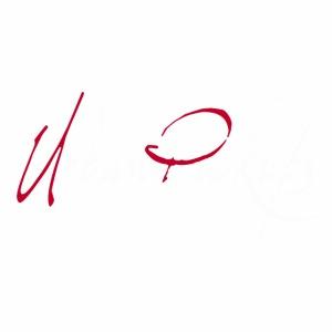 Logga röd och vit text