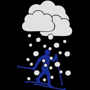 Langläufer im Schneefall
