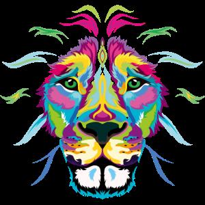 Colored Street Art Lion