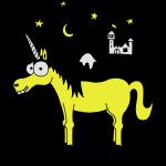 Einhorn mit Burg, Unicorn, Märchen, Pferd, Sterne