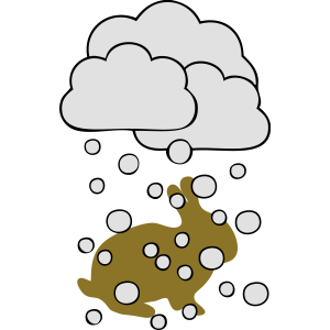 Hase im Schneefall