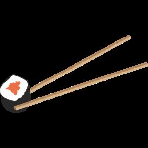 Sushi Rolle mit Stäbchen