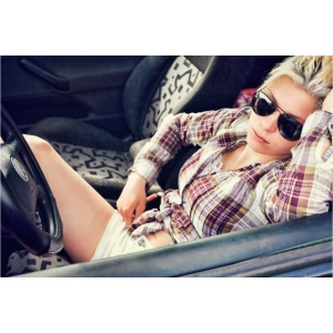 Cool woman in car