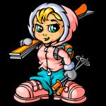 Snow girl and skis