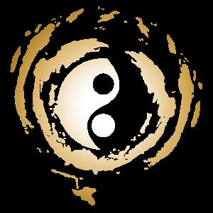 Goldenes Yin Yang Zeichen