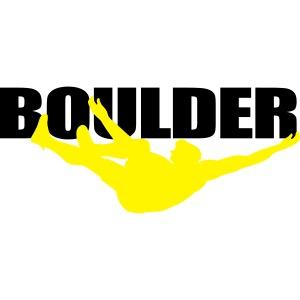 boulder with climber - Felsbrocken mit Kletterer