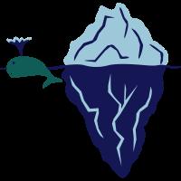 treibender Eisberg und spritzender Wal