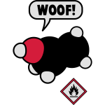 It says woof