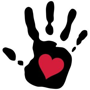 Handabdruck rotes Herz