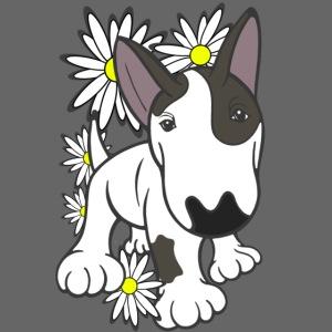 Bull Terrier Pup Daisies