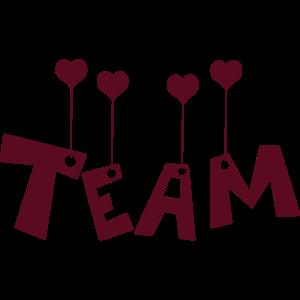 Team mit Herzen