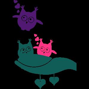 Eulenmama mit Eulenbabys
