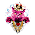 Pink Cat the King - red roses rote Rosen Krone Crown